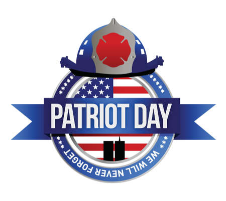 national hero: patriot day seal. fire fighters illustration design over white