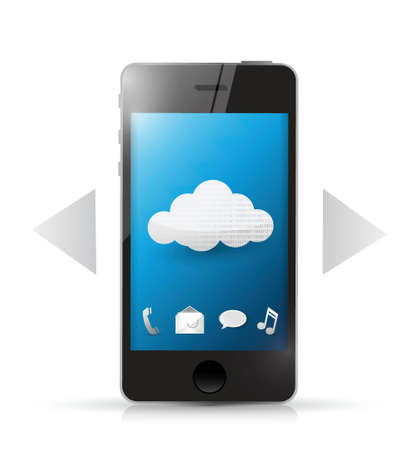 cloud technology access using phone. illustration design Illusztráció