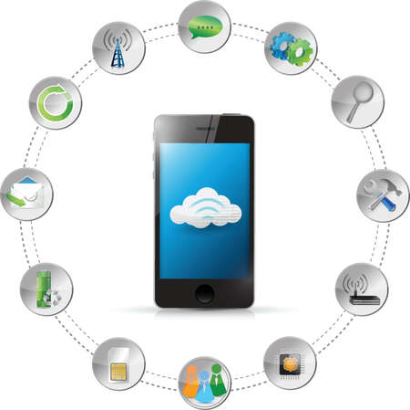 cloud computing smartphone tools illustration design over white Vector