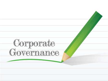 governance: corporate governance bericht geschreven op een stuk papier