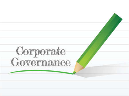 governance: corporate governance message written on a piece of paper Illustration