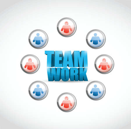 team work. social network illustration design over white