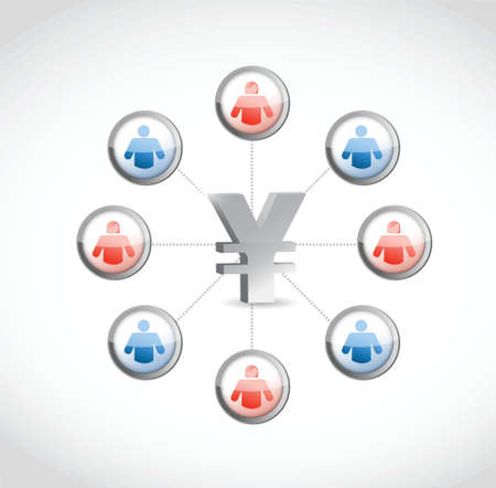 yen currency. social network illustration design over white Stock Vector - 21764006