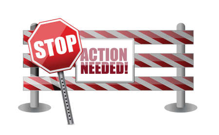 action needed barrier illustration design over a white background Ilustração