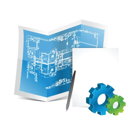 strategy diagram: industrial gear blueprints illustration design over a white background