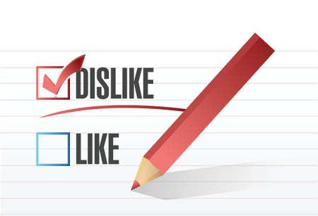 preference: dislike selected illustration design over a notepad paper Illustration