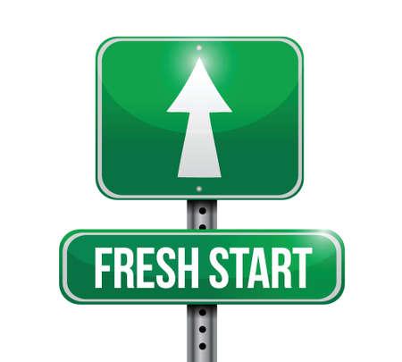 fresh start road sign illustration design over white 免版税图像 - 21764024