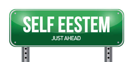 self confident: self esteem road sign illustration design over white