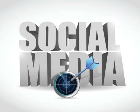 social gathering: target radar social media illustration design over a white background Illustration