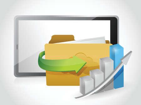 tablet business plan illustration design over a white background Vector