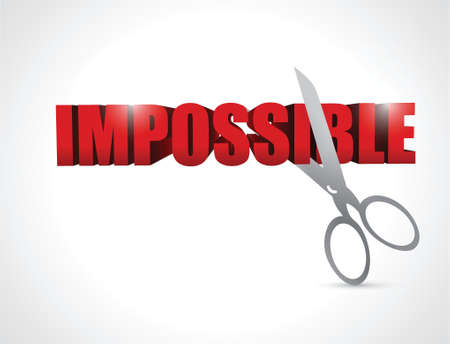 cutting the word impossible. illustration design over a white background Vector