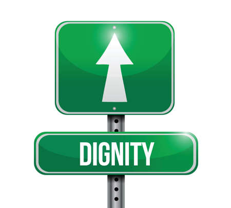 self esteem: dignity road sign illustration design over a white background