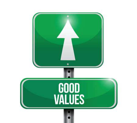 adboard: good values road sign illustration design over a white background Illustration