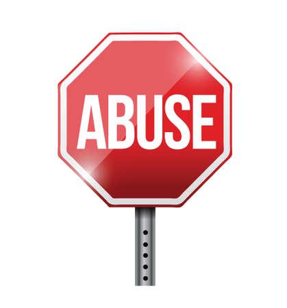 violencia familiar: detener el abuso de la se�al de tr�fico Ilustraci�n de dise�o sobre un fondo blanco