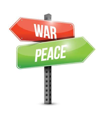 hostilities: war and peace road sign illustration design over white