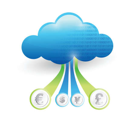 new opportunity: currency connected to the cloud. concept illustration design over white