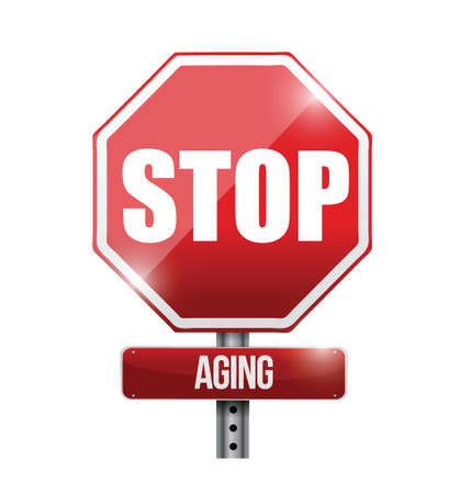 anti aging: stop aging road sign illustration design over a white background Illustration