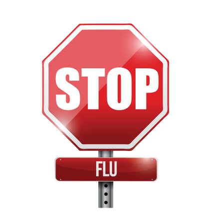 白色の背景上インフルエンザ道路標識イラスト デザインを停止します。  イラスト・ベクター素材