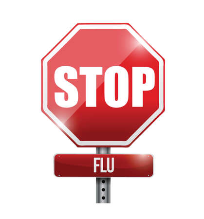 infection prevention: stop flu road sign illustration design over a white background Illustration