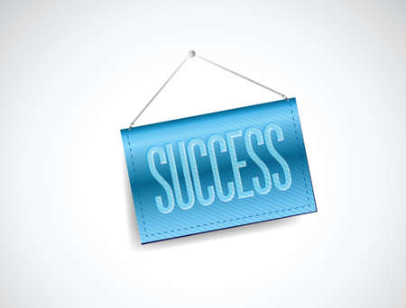 success blue hanging banner illustration design over white