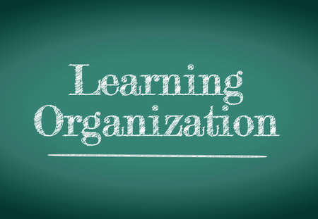 learning organization illustration design over a blackboard
