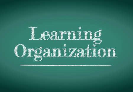 learning organization illustration design over a blackboard