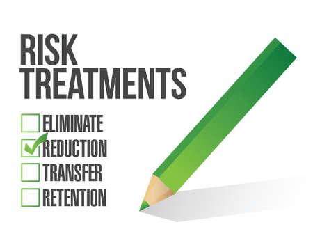 削減: ホワイト上リスク治療チェックリスト イラスト デザイン