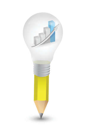 business graph lightbulb pencil illustration design over a white background