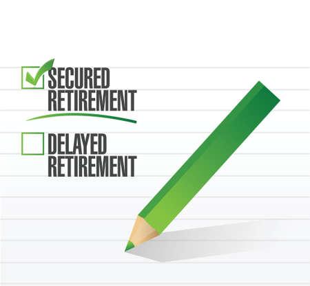 beveiligde pensioen geselecteerd met een vinkje. illustratie ontwerp