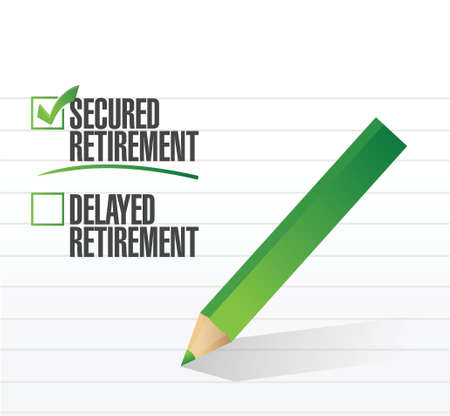 retire: secured retirement selected with a check mark. illustration design