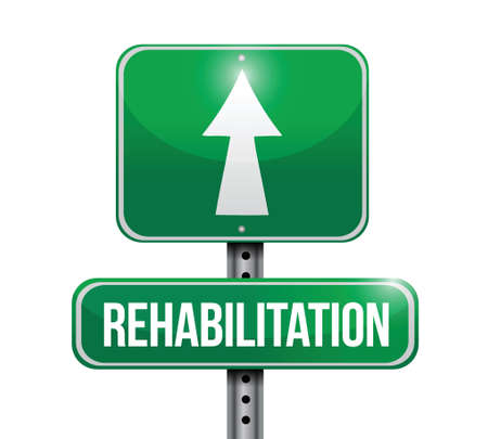 therapeutic: rehabilitation road sign illustration design over a white background Illustration