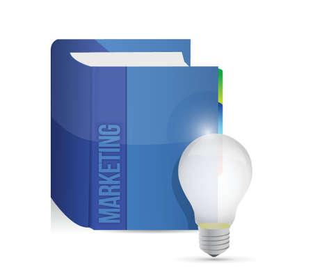 marca libros: libro de marketing y diseño de bombilla idea ilustración sobre un fondo blanco Vectores
