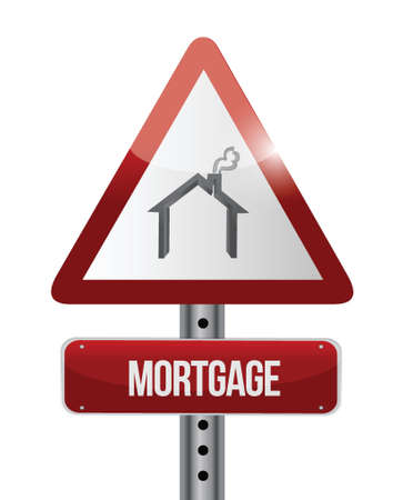 mortgage road sign illustration design over a white background