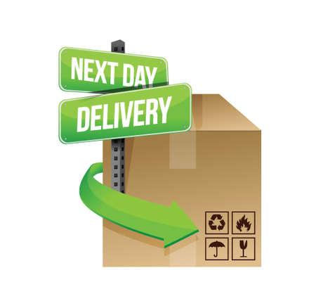 verhuis dozen: volgende dag levering illustratie ontwerp op een witte achtergrond ontwerp