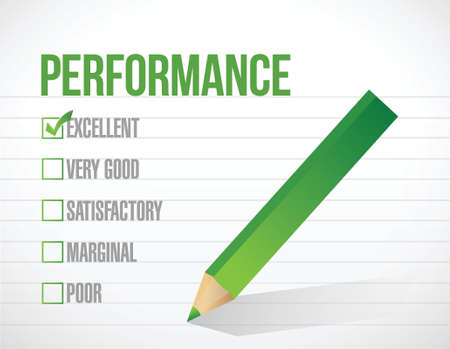 tickbox: excellent performance review illustration design graphic over white background