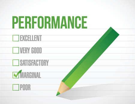 perform performance: marginal performance review illustration design graphic over white background Illustration