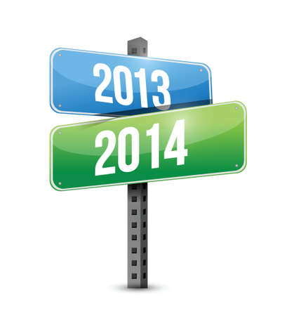 next year: 2013 2014 road sign illustration design over a white background