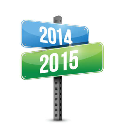 almanac: 2014 2015 road sign illustration design over a white background