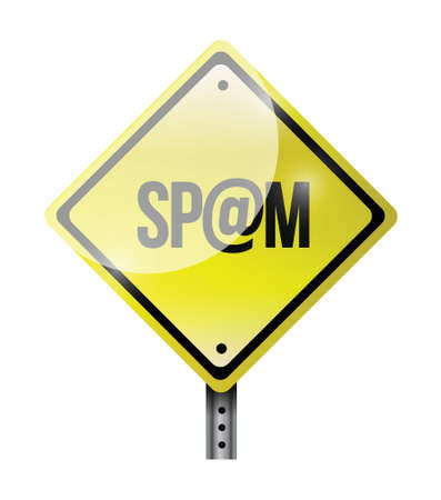 spamdexing: spam yellow road sign illustration design over white Illustration