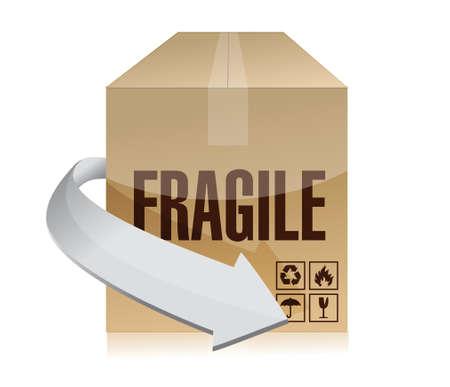 fragile box illustration design over a white background design