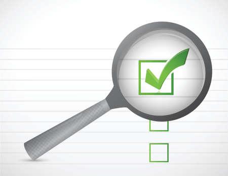 zvětšovací sklo: kontrolní seznam ochranných známek a zvětšit ilustrace design na bílém pozadí