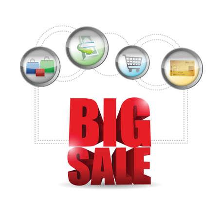 big sale commerce sign illustration design over a white background