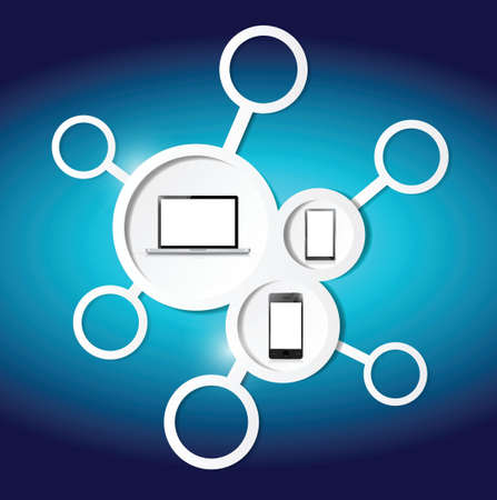 link and electronics illustration design over a blue background 矢量图像