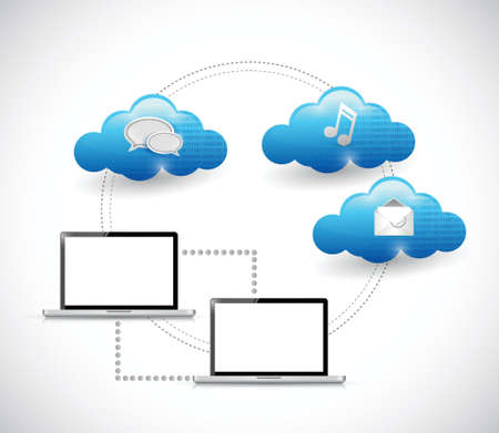 laptop connection and cloud computing illustration design over white Vector