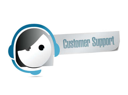 customer support sign illustration design over a white background Vector