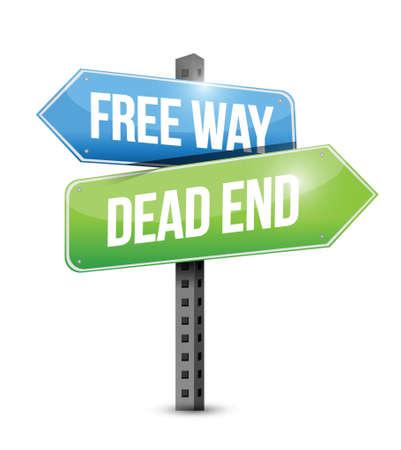 roadsigns: free way and dead end sign illustration design over white Illustration