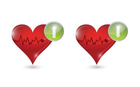 heartattack: lifeline hearts illustration design over a white background Illustration