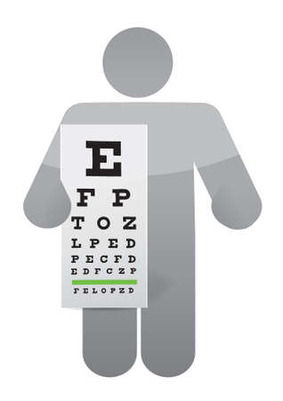 doctor and eye exam chart illustration design over white Ilustracja
