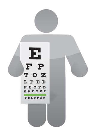 miopia: medico e occhio esame grafico, illustrazione, disegno, sopra, bianco Vettoriali
