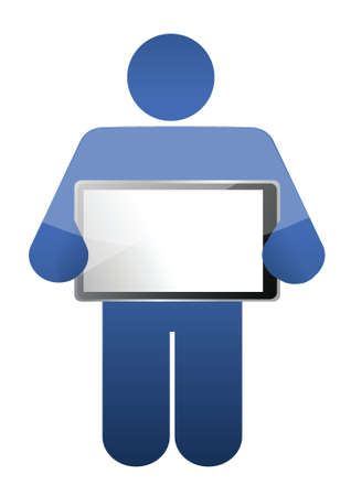 icon holding a tablet. illustrations design over a white background